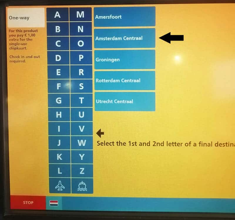 Machine at Schiphol Airport showing selection of Amsterdam Centraal as a final destination in this step-by-step guide to taking the train from Schiphol Airport