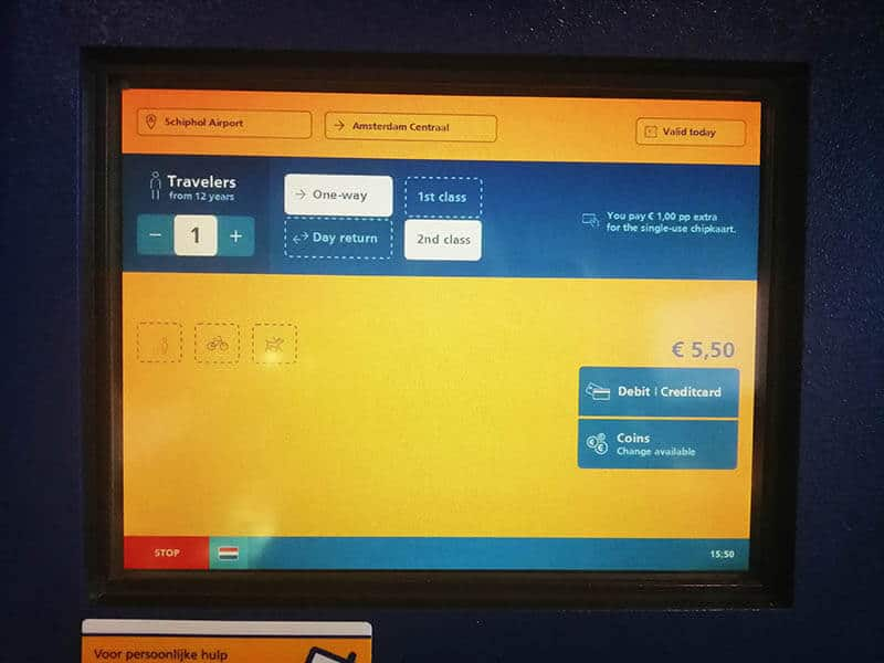 Machine showing the purchase of a ticket to Amsterdam Centraal from Schiphol Airport