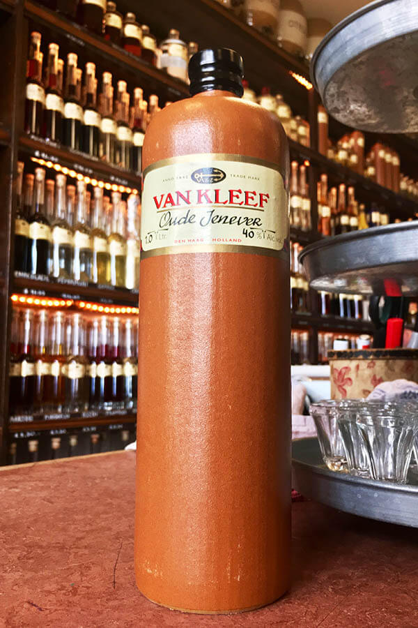 A genever bottle from a famous distillery maker in the Hague, Van Kleef. Van Gogh would buy his genever here! #netherlands #genever #jenever #holland #nederland #travel