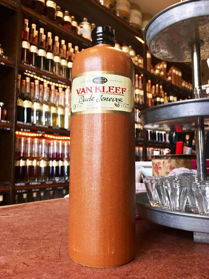 Bottle at Van Kleef Distillery in the Hague.  You can taste samples at this jenever distillery in the Hague for free!