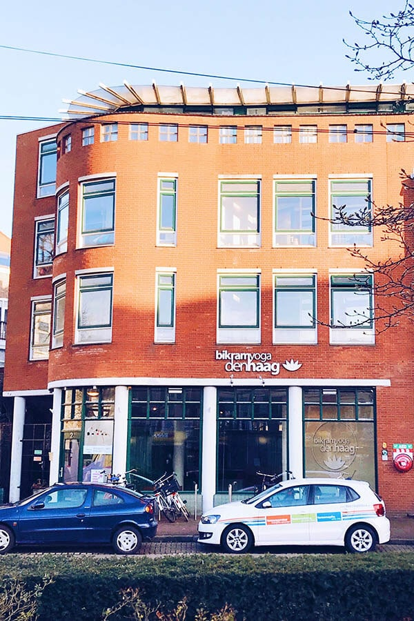 Exterior of an expat-friendly yoga studio in the Hague, the Netherlands with classes in English!