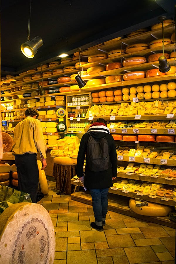 Cheese shop within the 9 Straatjes neighborhood of Amsterdam, one of the best places to buy Dutch cheese in Amsterdam! #amsterdam #kaas #cheese #gouda #edam