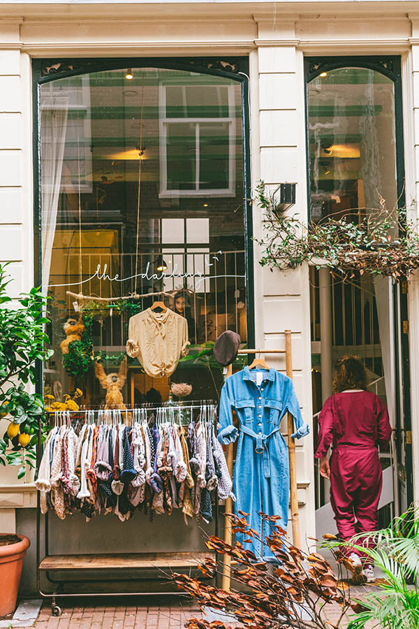 Cute boutique shop selling women's clothing in the Nine Streets of Amsterdam, one of the best areas to go shopping in Amsterdam. #amsterdam #netherlands #holland #nederland
