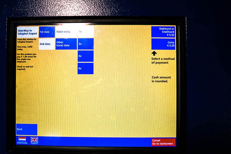 Screen showing a step-by-step guide buying tickets to Schiphol Airport