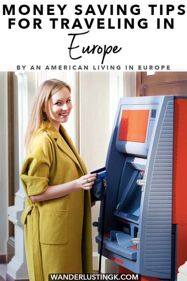 Read money saving tips for traveling in Europe focuses on currency and ATMs, including how to get the best exchange rate for your money. #travel #europe #money #paris #london