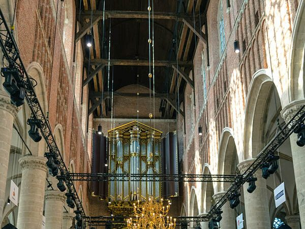 View of the Pieterskerk in Leiden with a view of the Van Hagerbeer organ (rarely opened). The Pilgrims attended services here! #travel #leiden #holland #netherlands
