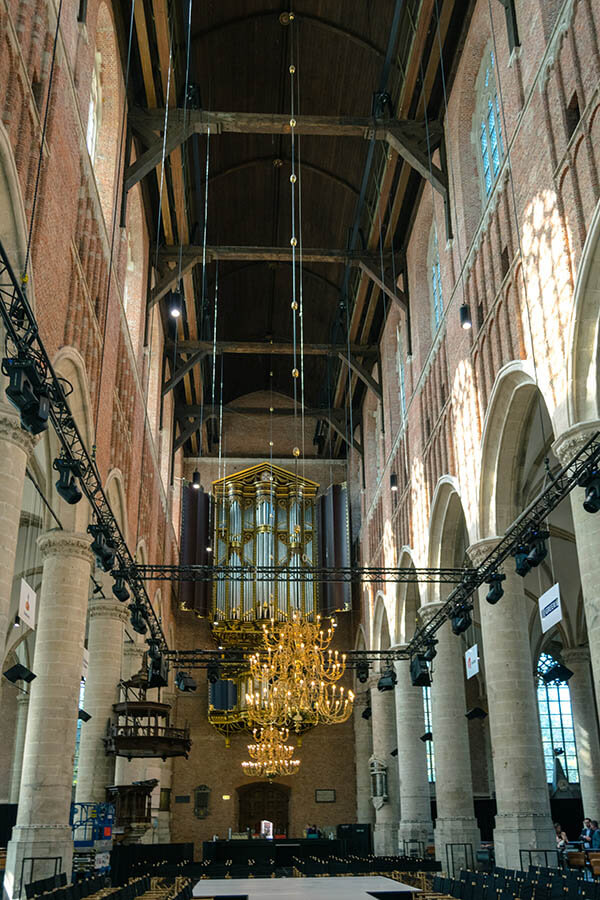 Interior of the Pieterskerk, one of the top attractions in Leiden for visitors.
