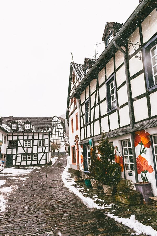 Beautiful half-timbered houses in Blankenheim, Germany in the snow. #germany