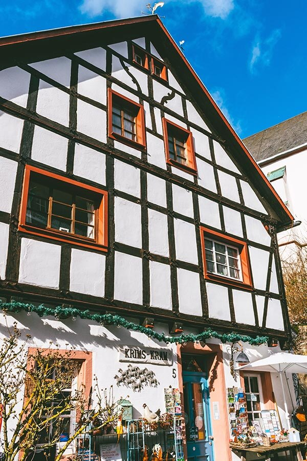 Exterior of a charming half-timbered shop in Blankenheim, Germany