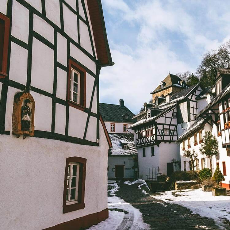 Beautiful street with half-timbered houses in Blankenheim, a charming town near Cologne