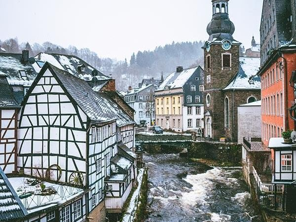 Beautiful view of half-timbered houses from a hotel room in Monschau