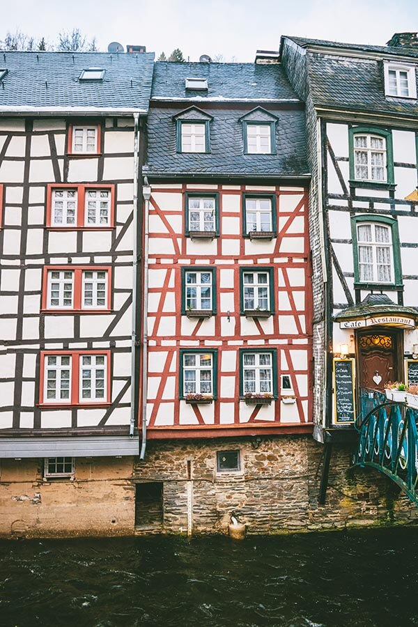 Beautiful half-timbered house in Monschau, a fairytale village in Germany near Cologne.