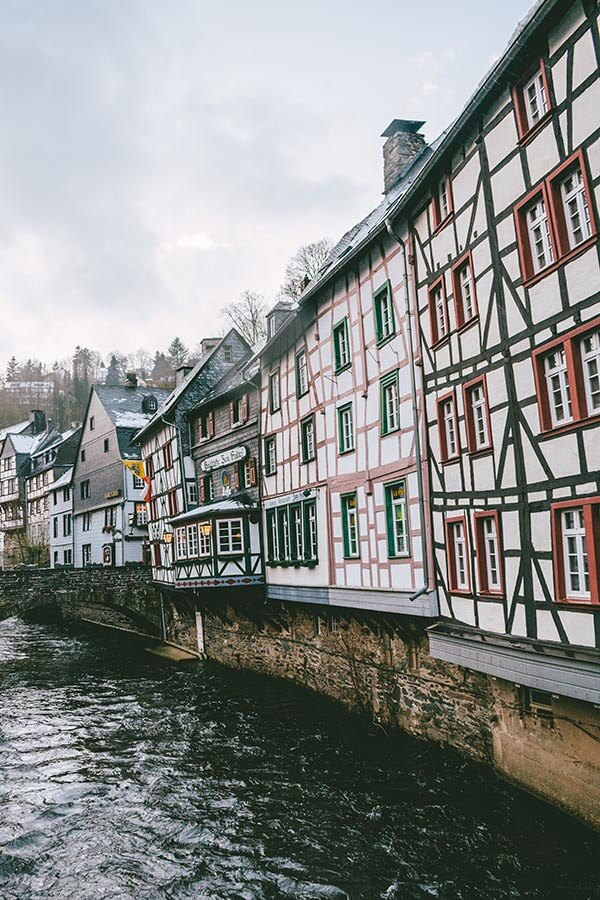 View of historic half-timbered houses in Monschau, a beautiful fairytale town in Germany!