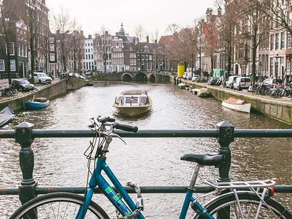 Boat in Amsterdam. Read about public transit in Amsterdam and Holland!
