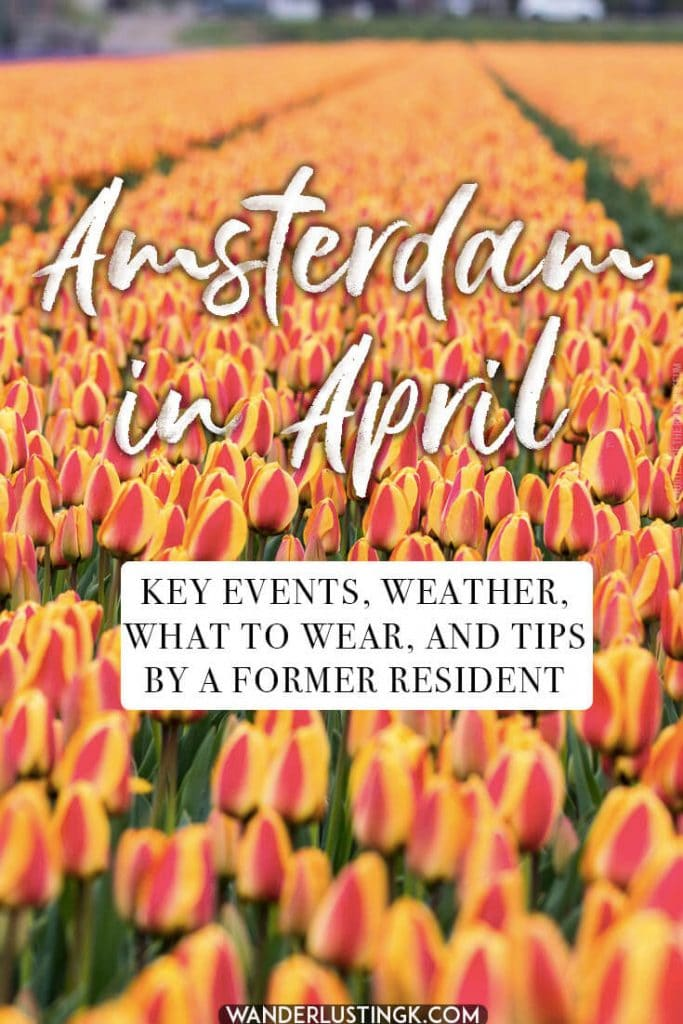 Tips for visiting Amsterdam in April, the best time of the year to visit Amsterdam.  Includes advice for key events in Amsterdam (King's Day) and what to wear in Amsterdam in April. #travel #amsterdam #holland #Netherlands