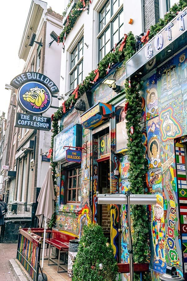 The Bulldog, a coffeeshop that sells marijuana within the Red Light District in Amsterdam