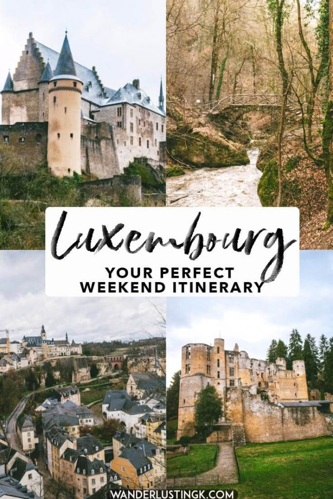 Your perfect itinerary for a weekend in Luxembourg, including the best castles in Luxembourg, Luxembourg city, and hiking in Luxembourg's Mullerthal region. #travel #luxembourg
