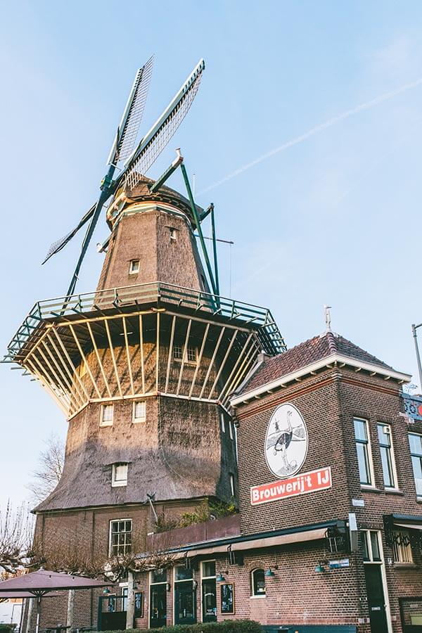 De Gooyer, a historic windmill in Amsterdam, is open to the public on National Windmill Day, an annual event that occurs during May.
