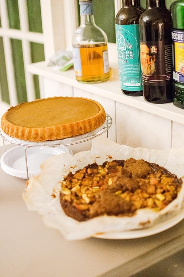 Delicious pumpkin pie baked for a Thanksgiving celebration abroad!