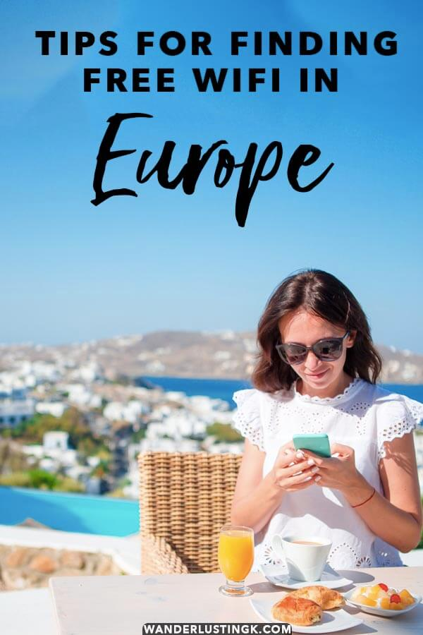 Looking to save money on your smartphone while traveling in Europe? Eight helpful tips from a European resident on how to find free WiFi in Europe! #travel #europe