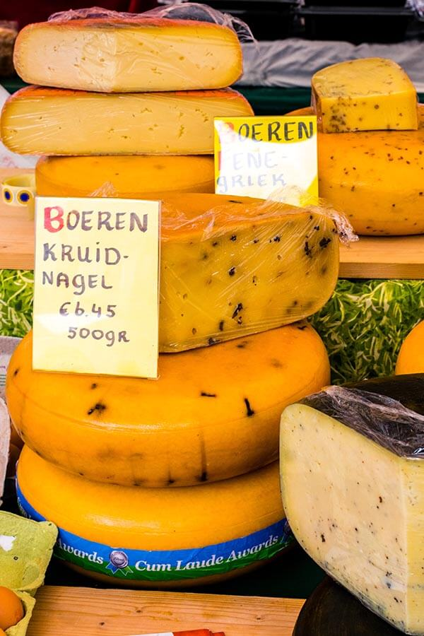Photo of artisanal Dutch cheese known as boerenkaas taken at a Dutch cheese market!