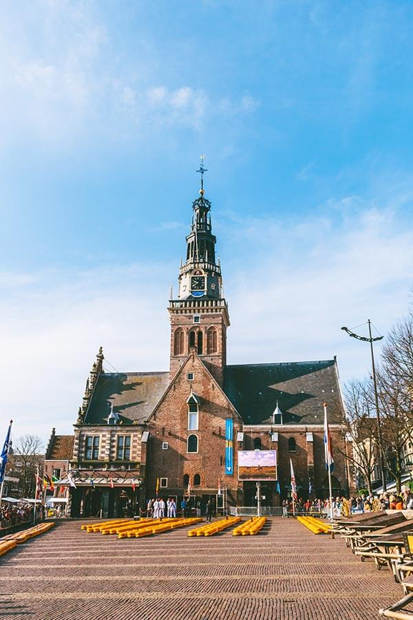 View of the Alkmaar Cheese Market within the Waagplein, which takes place on Fridays!