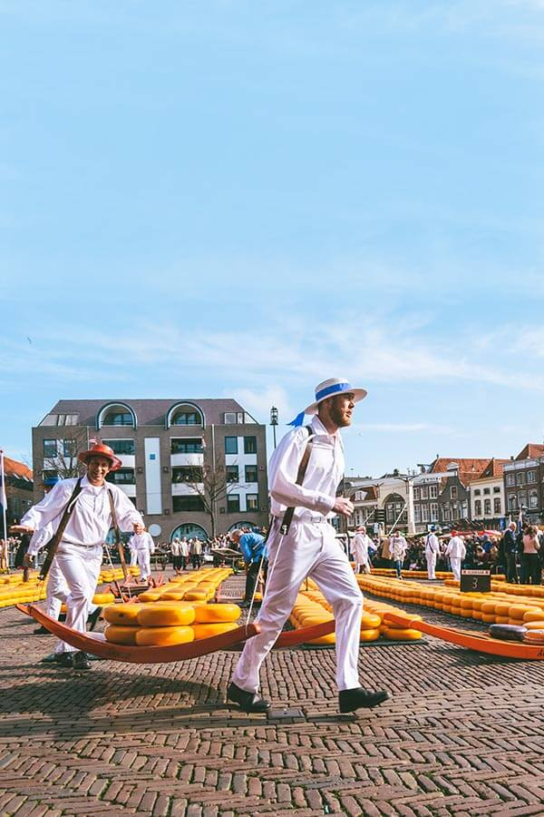 Men carrying cheese at the Alkmaar Cheese Market, one of the highlights of a Alkmaar day trip