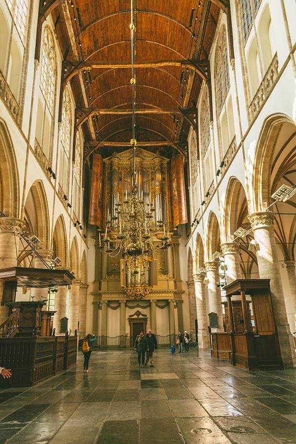 Interior of the Sint-Laurenskerk (Saint Laurence Church) in Alkmaar, one of the best things to see in Alkmaar