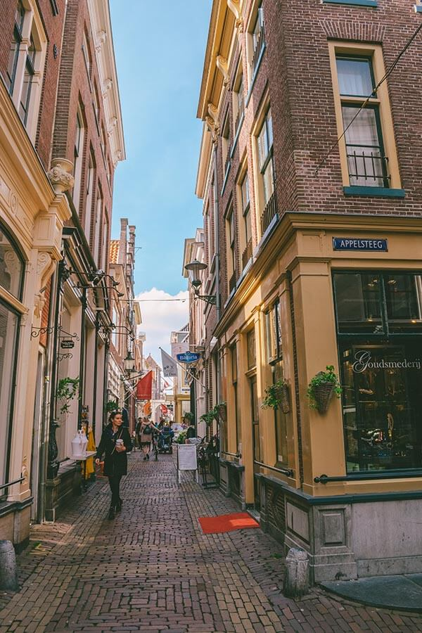 One of the cute shopping streets in Alkmaar to explore on foot during a day trip