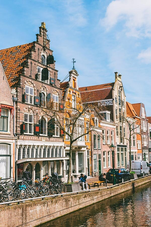 Beautiful canal houses in Alkmaar, Holland.  This day trip from Amsterdam is easy and beautiful!