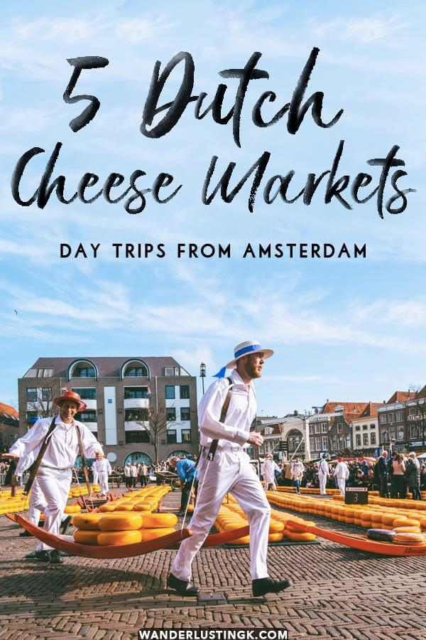 Your insider guide to the best cheese markets to visit in Holland written by a Dutch resident! Find out which cheese markets are an easy day trip from Amsterdam! #amsterdam #holland #netherlands #alkmaar