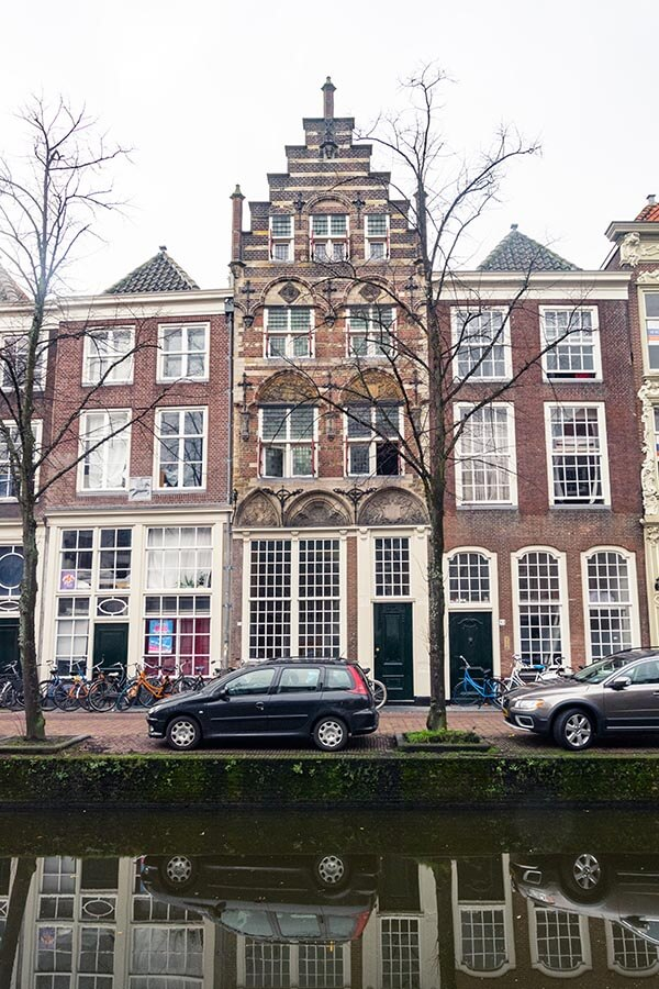 Beautiful canalhouse in Delft, a city in Holland