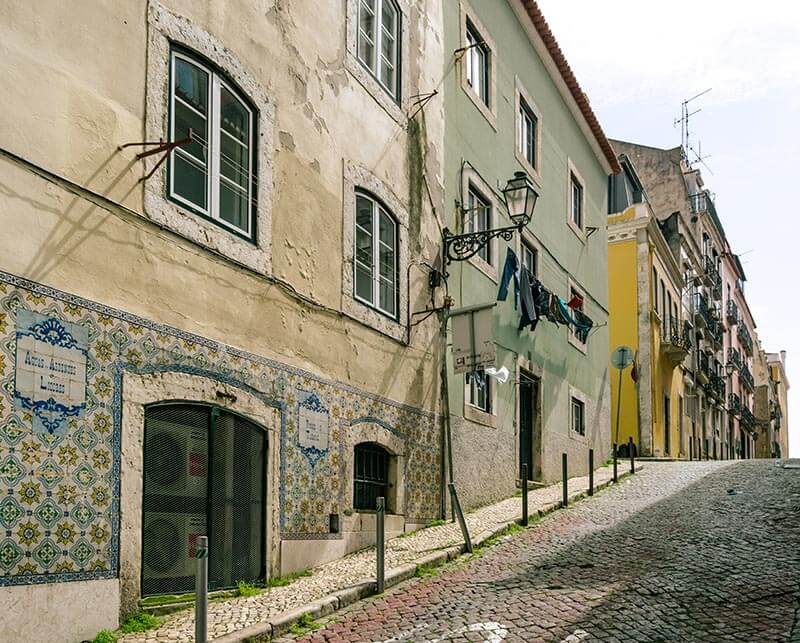 View of a beautiful street in Lisbon in this Lisbon travel guide