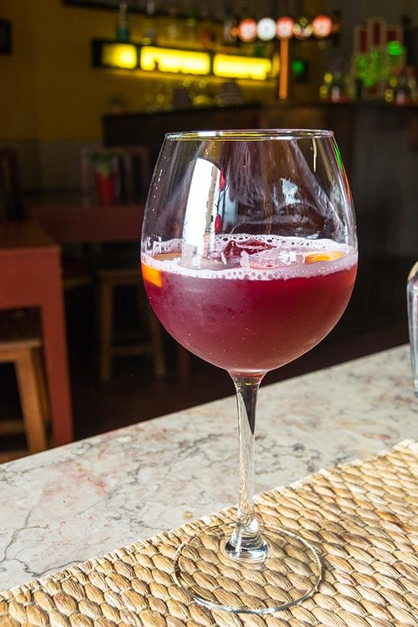 Glass of sangria, a delicious beverage to drink in Lisbon!