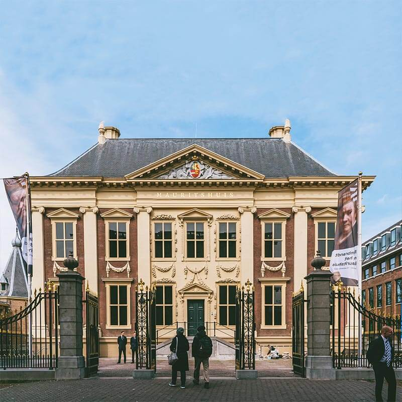 Beautiful exterior of the Mauritshuis museum in the Hague