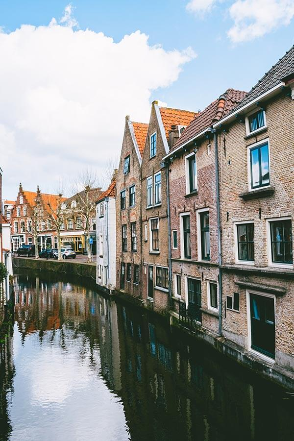 Beautiful view from the canals of Oudewater, a scenic town with a witch history in the Utrecht region