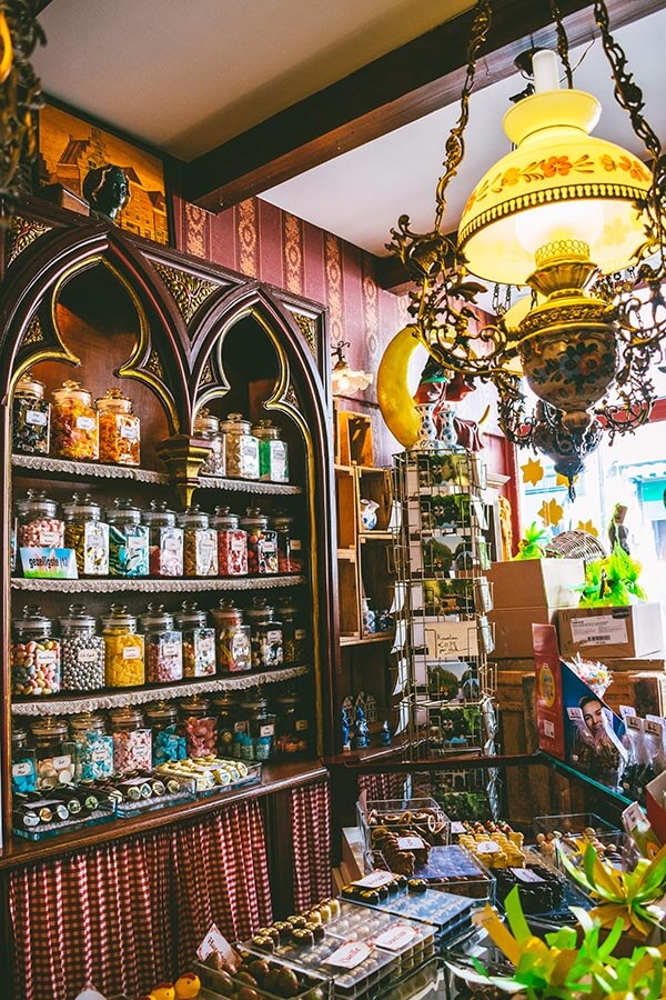 Cute interior of Hocus Pocus, a retro candy & chocolate shop in the witchcraft-related town of Oudewater, the Netherlands