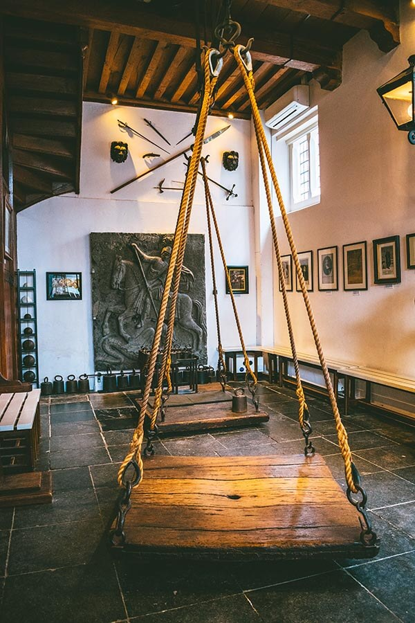 The scales used for weighing witches within the Heksenwaag (Witch Weighing House), a museum about witchcraft in the Netherlands