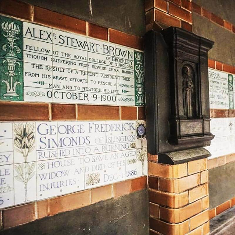 Postman's Park in London from Closer