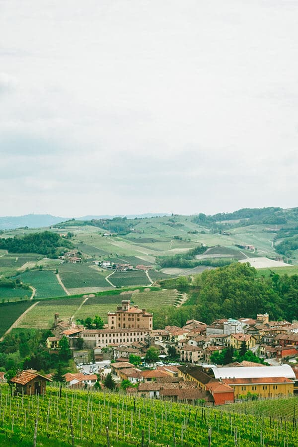 Beautiful view of Barolo, Italy from above. This Piedmont wine town is famous for Italian wine!