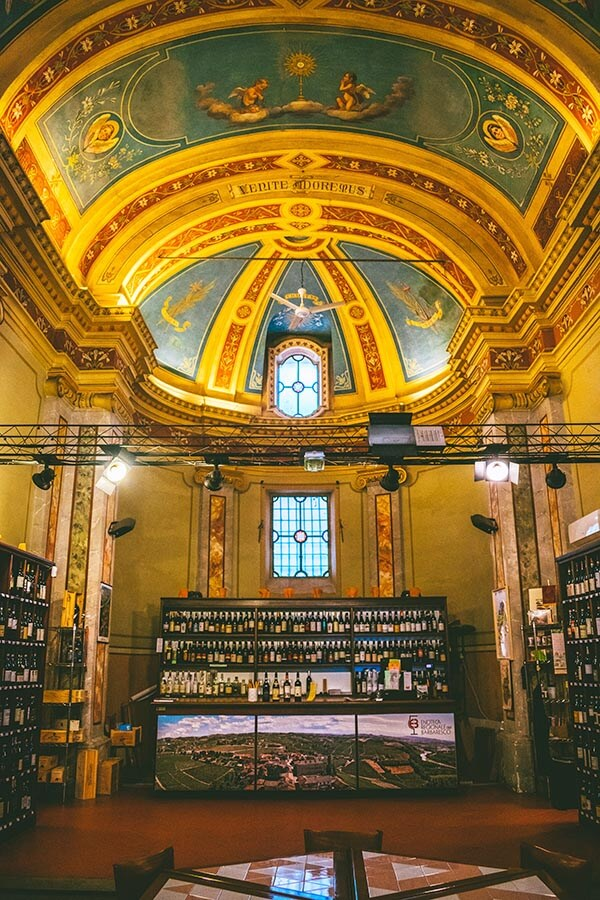"Interior of the ""Wine Church"" in Barbaresco, which is the Enoteca Regionale of Barbaresco (a tasting room)"