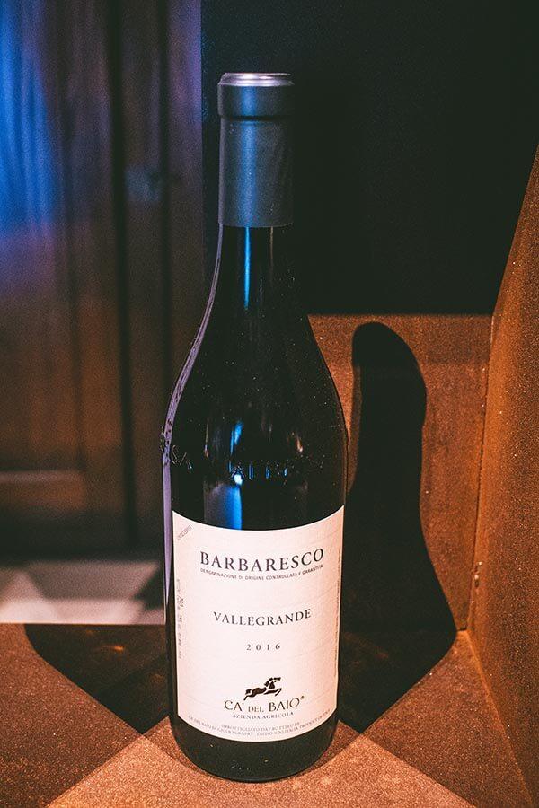 Bottle of Barbaresco wine produced in Barbaresco Italy by Ca del Baio
