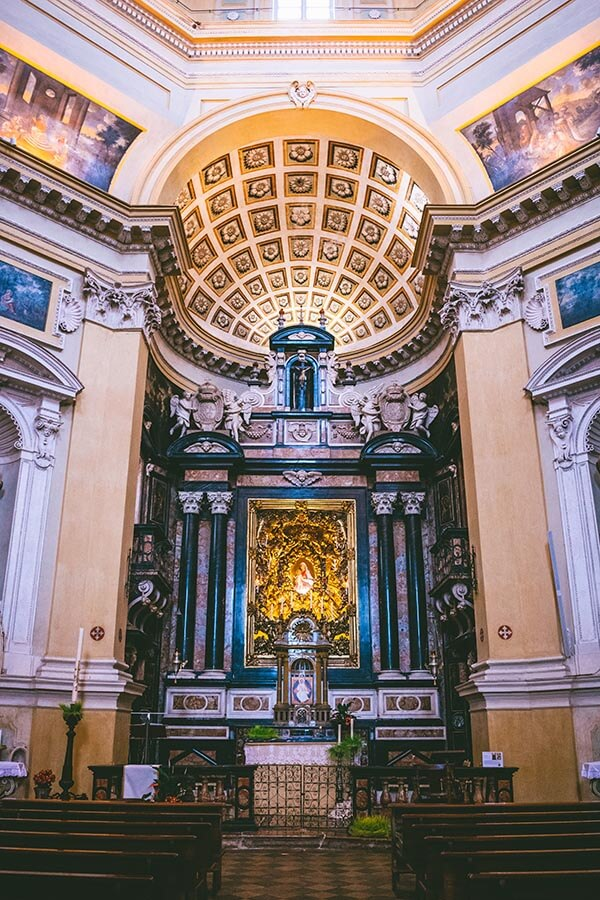 High Altar and interior of Chiesa di Santa Maria del Monte dei Cappuccini in Turin, Italy