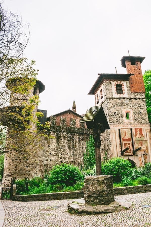 Medieval-style fortifications on the exterior of Turin's medieval village within the city, Borgo Medievale!