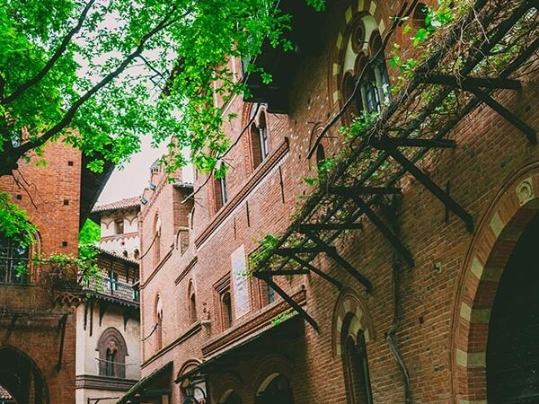 Beautiful street of Borgo Medievale, a beautiful recreated medieval village located in Turin, Italy that is free to visit!