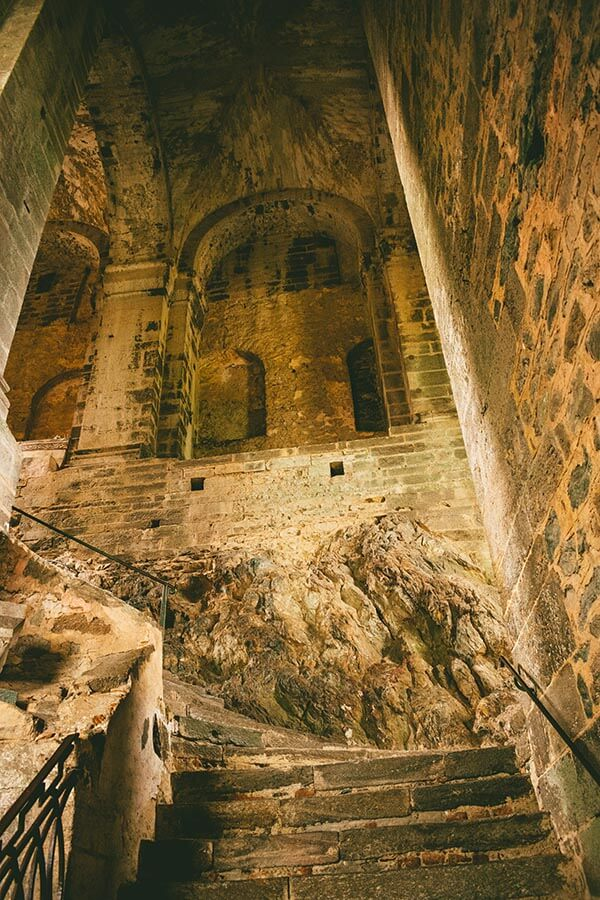 Staircase of the Dead, one of the most iconic parts of Sagri di San MIchele, an iconic abbey in Piedmont, Italy