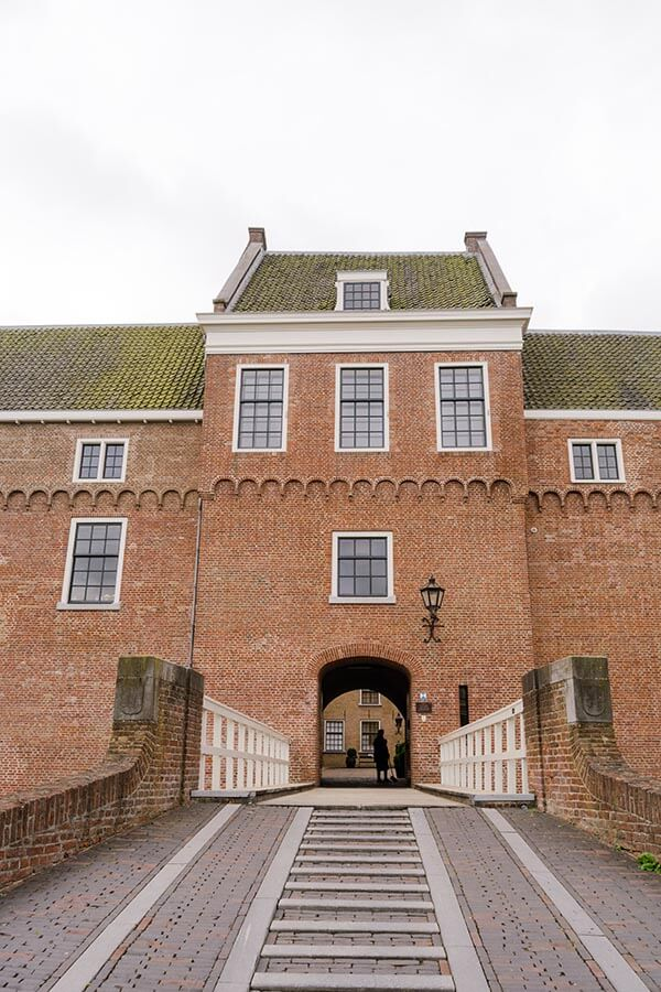 The impressive entrance to Woerden castle, a medieval castle in Woerden worth visiting