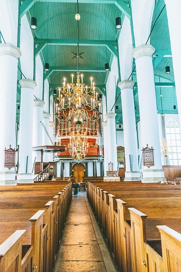Interior of the Petruskerk in Woerden, an impressive church in Woerden