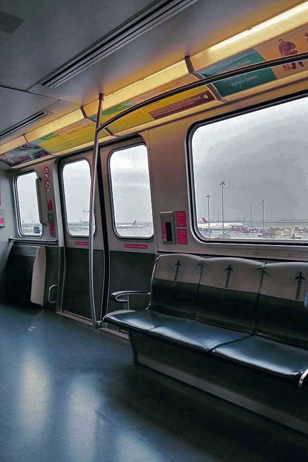 Interior of the Airtrain, the train that brings you from Jamaica, Queens to JFK airport in New York City!