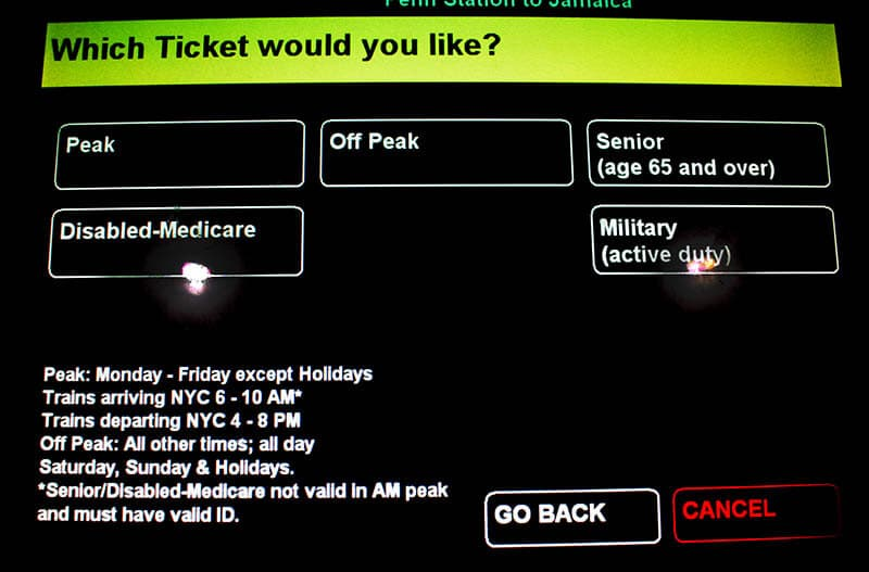 The screen for buying tickets from the LIRR for the train from Jamaica to Manhattan